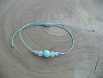 - jednoduchý šnúrkový náramok s Jadeitom,Opalitom a Ruženínom - 9514169_