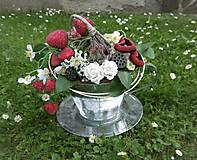 Dekorácie - Dekorácia v plechovej šálke: Jahodový čaj - 9515864_