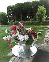 Dekorácie - Dekorácia v plechovej šálke: Jahodový čaj - 9515866_
