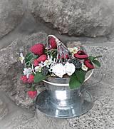 Dekorácie - Dekorácia v plechovej šálke: Jahodový čaj - 9515869_