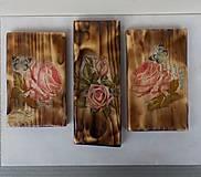 Obrázky - Sada drevených obrázkov-ruže - 9518361_