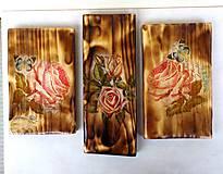 Obrázky - Sada drevených obrázkov-ruže - 9518362_