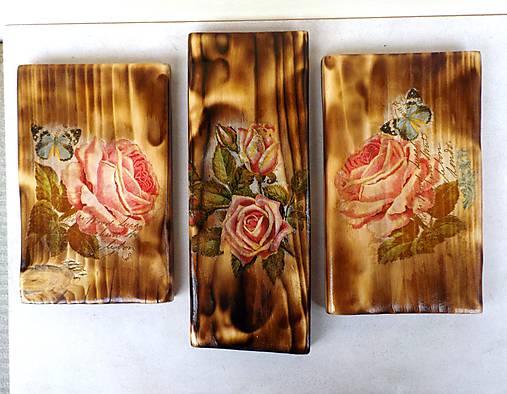 Sada drevených obrázkov-ruže
