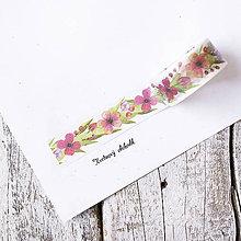 Papier - Washi pásky Kvety a listy 2 cm x 5 m - 9516067_