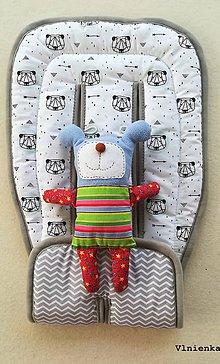 Textil - VLNIENKA Univerzálna letná podložka do kočíka BUGABOO / CONCORD / Joolz / Valco / Petite and Mars / Britax / Peg Perego panda a cik cak - 9515901_