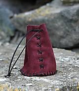 Peňaženky - Kožený mešec bordový - 9518134_