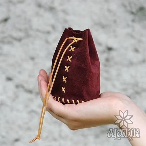 Kožený mešec bordový (šitý béžovým remienkom)