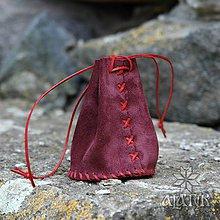 Peňaženky - Kožený mešec bordový - 9518139_
