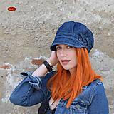 Čiapky - modrá džínová bekovka se záhyby, podšitá 58-60cm - 9516008_