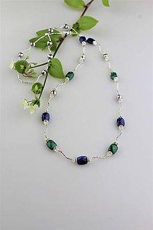 Náhrdelníky - zafír so smaragdom náhrdelník luxusný dlhý - 9518744_
