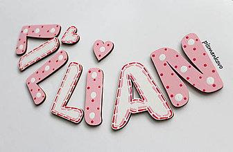 Tabuľky - LILLIAN dievčenské meno z drevených písmeniek - 9517943_