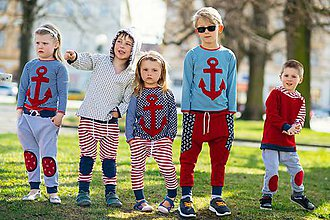 Detské oblečenie - Červené kalhoty pro opravdové námořníky - 9515011_