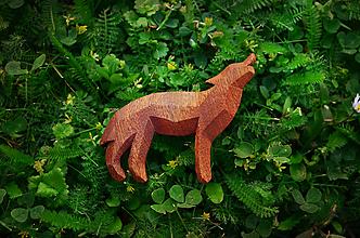 Odznaky/Brošne - Drevená brošňa vlk vyjúci - 9516486_
