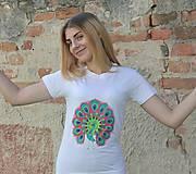 Tričká - Ručne maľovaný páv Tričko S - 9518985_