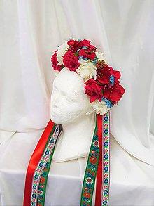 Ozdoby do vlasov - Folklórna kvetinová parta na svadbu - 9516044_