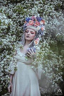 Ozdoby do vlasov - Veľká rozprávková koruna z kvetov - 9518050_