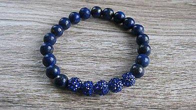 Náramky - Náramok z minerálov pružný (štrasové shamballa korálky + lapiz lazuli č. 2069) - 9518079_