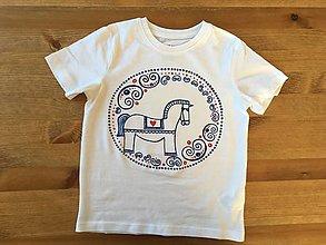 Detské oblečenie - Maľované ľudovoladený maľovaný koník na (tričku v ovále) - 9515416_