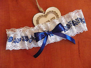 Bielizeň/Plavky - Folklórny podväzok 6cm s tmavomodrým ornamentom - 9518290_