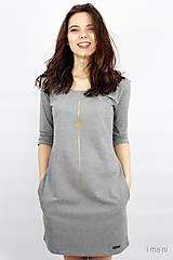 Šaty - Dámske šaty s vreckami šedé M14 IO16 - 9515777_