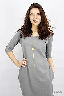 Šaty - Dámske šaty s vreckami šedé IO16 - 9515778_