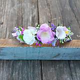 Romantická čelenka s levanduľou a ružičkami, fialková, pastelová