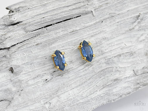 Náušnice - 585/14k zlaté náušnice s kvalitným prírodným modrým zafírom - 9521655_