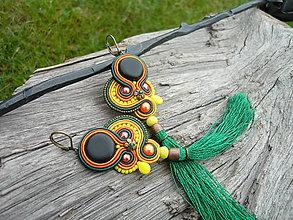 Náušnice - Soutache Náušnice Eben...Farby Indie - 9521784_