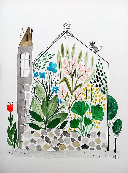 Skleník letné rastliny Ilustrácia / originál maľba