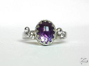 Prstene - Strieborný prsteň s ametystom - Levandulová - 9520310_