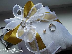 Prstene - Svadobný vankúšik na obrúčky - 9521892_
