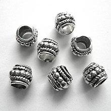 Korálky - Kovové korálky 7,5mm/otvor 4,3mm-1ks - 9520088_