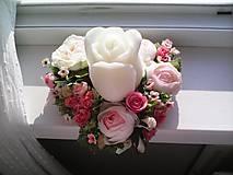 """Dekorácie - Kvetinový aranžmán a svietnik v tvare srdca  """"... srdiečko pre Teba..."""" - 9519813_"""