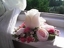 """Dekorácie - Kvetinový aranžmán a svietnik v tvare srdca  """"... srdiečko pre Teba..."""" - 9519815_"""