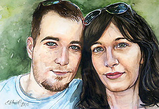 Obrazy - Akvarelový obraz na objednávku - dvojportrét (Bez rámu 30x40) - 9521460_