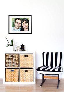 Obrazy - Akvarelový obraz na objednávku - dvojportrét (S čiernym rámom 30x40) - 9521463_