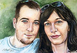 Obrazy - Akvarelový obraz na objednávku - dvojportrét (Bez rámu 40x50) - 9521465_