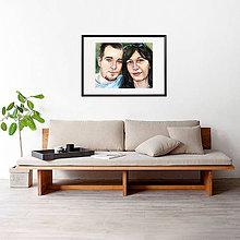 Obrazy - Akvarelový obraz na objednávku - dvojportrét (S čiernym rámom 40x50) - 9521477_