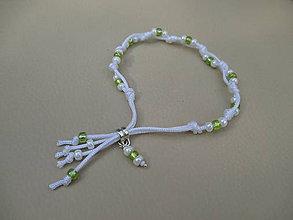 Náramky - Náramok - bielo-zelený - 9522972_