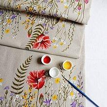 Úžitkový textil - Štóla na stôl - zakvitnutá lúka s makmi - 9520829_