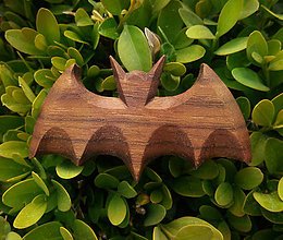 Odznaky/Brošne - Drevená brošňa netopier - 9519873_