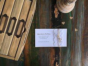 Papiernictvo - Svadobné oznámenie s krajkou biele - 9522632_