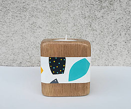 Svietidlá a sviečky - Drevený svietnik LEAVANT - ručne maľovaný - 9520228_