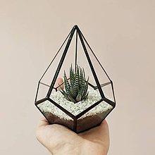 Dekorácie - Vitrážové terárium s kaktusom - 9520952_