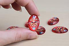 Komponenty - Kabošon sklenený folk červený 18x25mm, 0.80€/ks - 9519788_