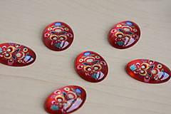 Komponenty - Kabošon sklenený folk červený 18x25mm, 0.80€/ks - 9519789_
