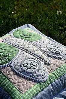 Úžitkový textil - Krajina divých kvetov - motýľ - zelené prevedenie - 9520133_