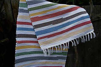 Úžitkový textil - Tkaný koberec pestrofarebný s bielymi pásmi - 9522746_