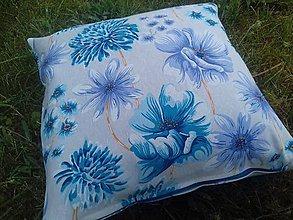 Úžitkový textil - Obliečka na vankuš  (Modré kvety na béžovej) - 9525184_