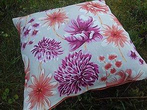 Úžitkový textil - Obliečka na vankuš  (Oránž-bordo kvety na béžovej-dopredaj) - 9525188_